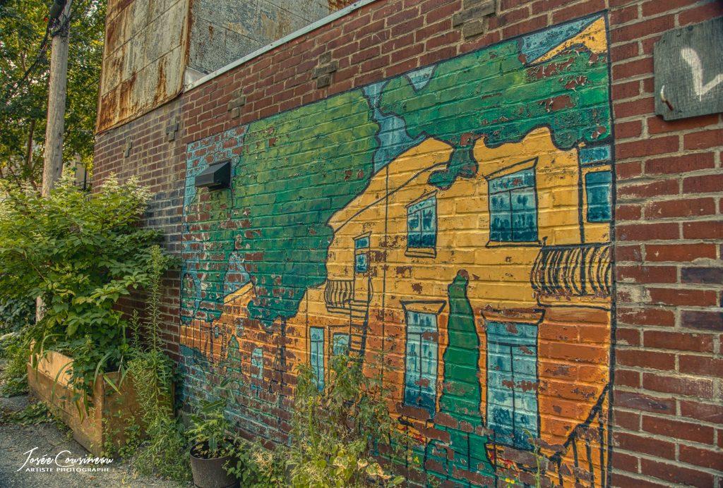 Mur de briques peint à la main